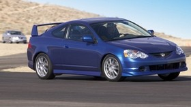 acura, rsx, 2004, blue, side view, style, acura, auto, road, movement, mountains - wallpapers, picture