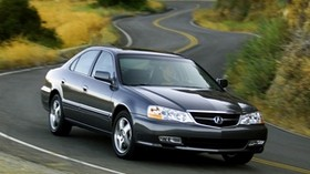 acura, tl, 2002, blue, front view, style, auto, nature, shrubs, grass, trees, track - wallpapers, picture
