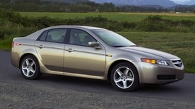 acura, tl, 2004, beige metallic, side view, style, auto, acura, nature, mountains, trees, shrubs, grass - wallpapers, picture