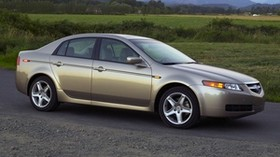acura, tl, 2004, beige metallic, side view, style, auto, nature, mountains, trees, grass, asphalt - wallpapers, picture