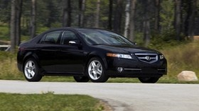 acura, tl, 2007, black, side view, style, auto, acura, nature, forest, grass, asphalt - wallpapers, picture