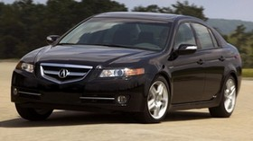 acura, tl, 2007, black, front view, style, acura, auto, sky, trees, asphalt - wallpapers, picture