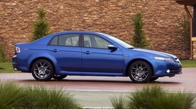 acura, tl, 2007, blue, side view, style, acura, auto, building, shrubs - wallpapers, picture