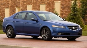 acura, tl, 2007, blue, side view, style, auto, acura, building, shrubs - wallpapers, picture