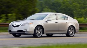 acura, tl, 2008, metallic white, side view, style, auto, acura, speed, nature, trees, grass, asphalt - wallpapers, picture