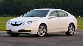 acura, tl, 2008, white, side view, style, auto, acura, nature, trees, grass - wallpapers, picture