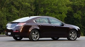 acura, tl, 2008, burgundy, side view, style, acura, trees, asphalt - wallpapers, picture