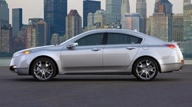 acura, tl, 2008, silver metallic, side view, style, auto, acura, city, lights - wallpapers, picture