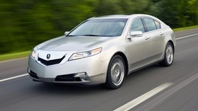 acura, tl, 2008, silver metallic, side view, style, auto, acura, speed, trees, track - wallpapers, picture