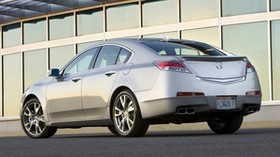 acura, tl, 2008, silver metallic, side view, style, auto, acura, building, asphalt - wallpapers, picture