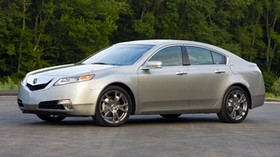 acura, tl, 2008, silver metallic, side view, style, auto, trees, asphalt - wallpapers, picture