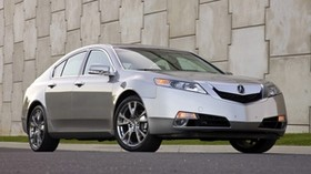 acura, tl, 2008, metallic gray, front view, style, auto, acura, grass, wall, asphalt - wallpapers, picture