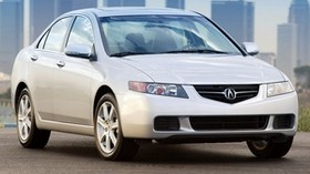 acura tsx, 2003, white, front view, style, auto, acura, buildings, asphalt - wallpapers, picture