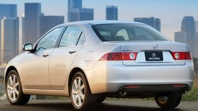 acura, tsx, 2003, silver metallic, rear view, style, auto, acura, city, houses, grass, asphalt - wallpapers, picture