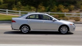 acura, tsx, 2006, silver metallic, side view, style, auto, acura, speed, nature, trees, asphalt - wallpapers, picture