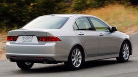 acura, tsx, 2006, silver metallic, rear view, style, auto, acura, speed, shrubs, grass, asphalt - wallpapers, picture