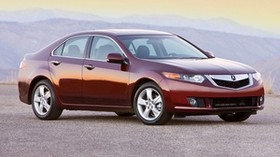 acura, tsx, 2008, red, side view, style, auto, acura, mountains, asphalt - wallpapers, picture