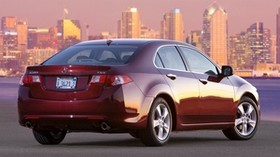 acura, tsx, 2008, red, rear view, style, auto, acura, city, houses, lights, asphalt - wallpapers, picture