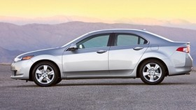 acura, tsx, 2008, silver metallic, side view, style, auto, acura, mountains, sunset - wallpapers, picture