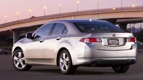 acura, tsx, 2008, silver metallic, side view, style, auto, acura, bridge, lights, asphalt - wallpapers, picture