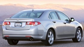 acura, tsx, 2008, silver metallic, rear view, style, auto, acura, mountains, sunset, asphalt - wallpapers, picture
