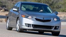 acura, tsx, 2008, metallic gray, front view, style, auto, acura, nature, wood, asphalt - wallpapers, picture