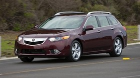 acura, tsx, 2010, burgundy, front view, style, auto, acura, speed, road, trees - wallpapers, picture