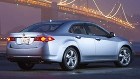 acura, tsx, 2010, metallic blue, side view, style, auto, acura, bridge, lights, wet asphalt - wallpapers, picture