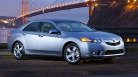 acura, tsx, 2010, blue, side view, style, auto, acura, lights, bridge, river - wallpapers, picture