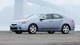 acura, tsx, 2010, blue, side view, style, auto, acura, speed, fog, bridge, asphalt - wallpapers, picture