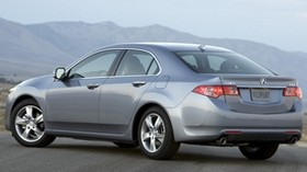 acura, tsx, 2010, gray metallic, side view, style, auto, acura, mountains, asphalt, fog - wallpapers, picture