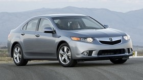 acura, tsx, 2010, metallic gray, front view, style, auto, acura, fog, mountains, clouds, asphalt - wallpapers, picture