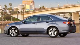 acura, tsx, v6, 2009, metallic gray, side view, style, auto, acura, nature, sky, bridge, asphalt, palm trees - wallpapers, picture