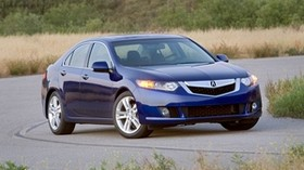 acura, tsx, v6, 2009, blue, front view, style, auto, acura, nature, grass, trees, shrubs, asphalt - wallpapers, picture
