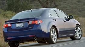 acura, tsx, v6, 2009, blue, rear view, style, auto, acura, nature, trees, grass - wallpapers, picture