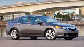 acura, tsx, v6, gray, side view, style, auto, acura, sky, bridge, trees, asphalt - wallpapers, picture