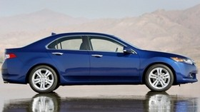acura, tsx, v6, blue, side view, style, auto, acura, reflection, wet asphalt, mountains - wallpapers, picture