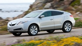 acura, zdx, 2009, white, side view, style, auto, acura, speed, flowers, grass, sea, rocks - wallpapers, picture
