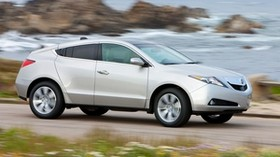 acura, zdx, 2009, silver metallic, side view, style, auto, acura, speed, flowers, grass, sea - wallpapers, picture