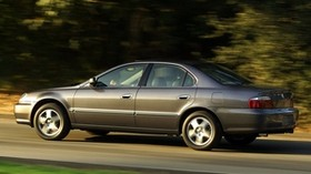 acura, 2002, gray, side view, style, acura, tl, auto, speed, grass, trees - wallpapers, picture