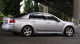 acura, 2004, silver metallic, side view, style, auto, acura, tl, bridge, trees, asphalt - wallpapers, picture