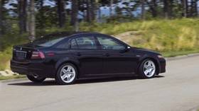 acura, 2007, black, side view, style, acura, tl, nature, forest, grass, asphalt - wallpapers, picture