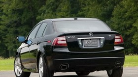 acura, 2007, black, rear view, style, auto, acura, tl, trees, grass, asphalt - wallpapers, picture