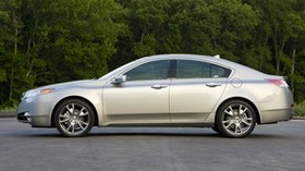 acura, 2008, silver metallic, side view, style, acura, tl, auto, trees, asphalt - wallpapers, picture