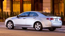 acura, 2008, silver metallic, side view, style, auto, acura, tsx, street, building, shrubs, asphalt - wallpapers, picture