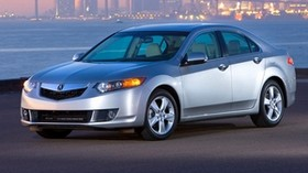acura, 2008, silver metallic, side view, style, auto, acura, tsx, sunset, city, lights, bridge, asphalt - wallpapers, picture