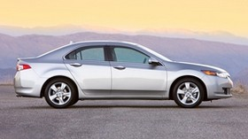 acura, 2008, silver metallic, side view, style, auto, acura, tsx, sunset, mountains, asphalt - wallpapers, picture