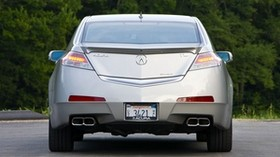 acura, 2008, silver metallic, rear view, style, auto, acura, tl, trees - wallpapers, picture