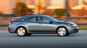 acura, 2009, metallic gray, side view, style, auto, acura, tsx, v6, speed, houses, city, trees - wallpapers, picture