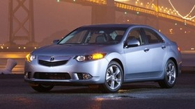 acura, 2010, metallic blue, front view, style, auto, acura, tsx, bridge, lights, wet asphalt - wallpapers, picture